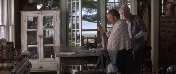 Kevin Costner inside the beach house