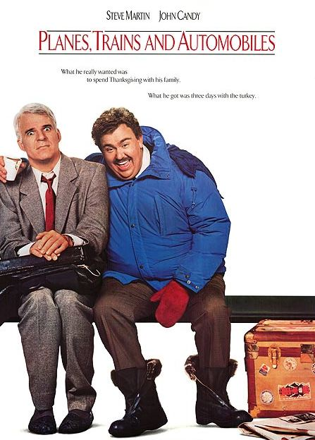 movie poster for Planes, Trains and Automobiles with Steve Martin and John Candy