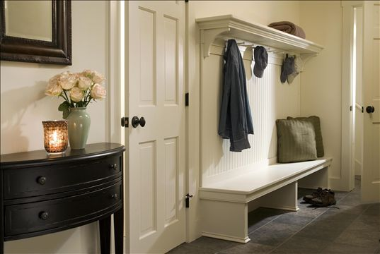 mudroom with bench and hooks for coats