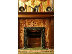 closeup of old Victorian fireplace