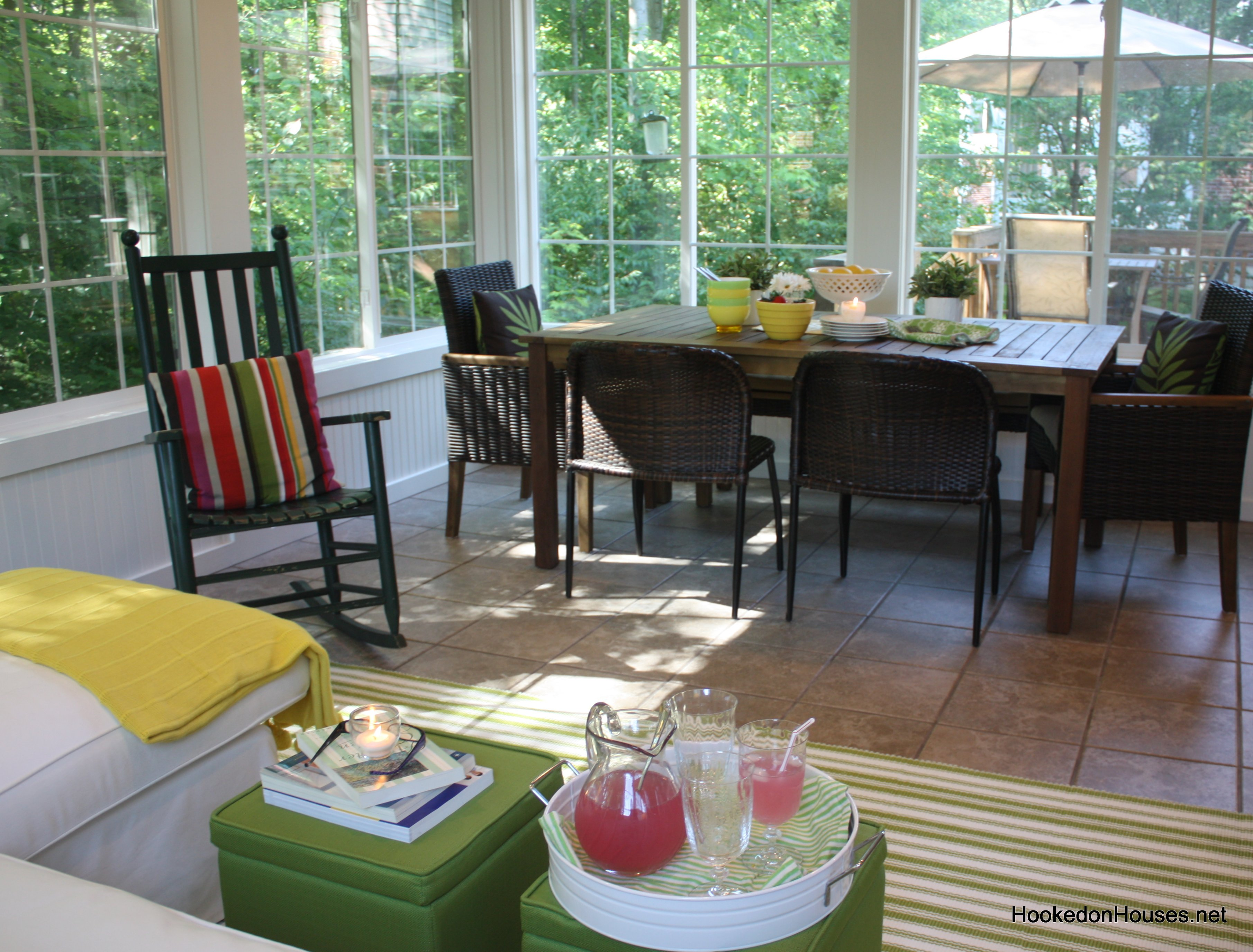 dining table in sunroom - Hooked on Houses