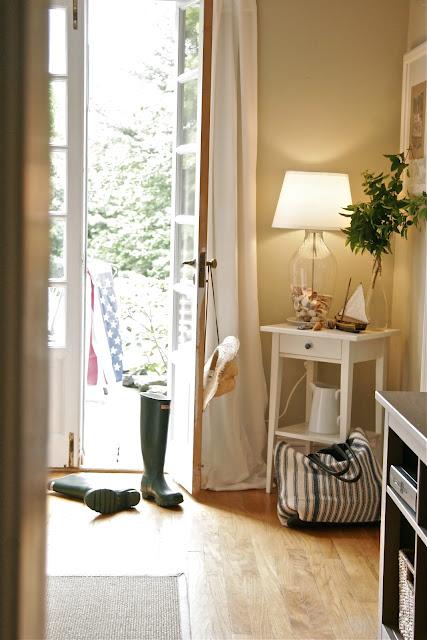 french doors open to backyard