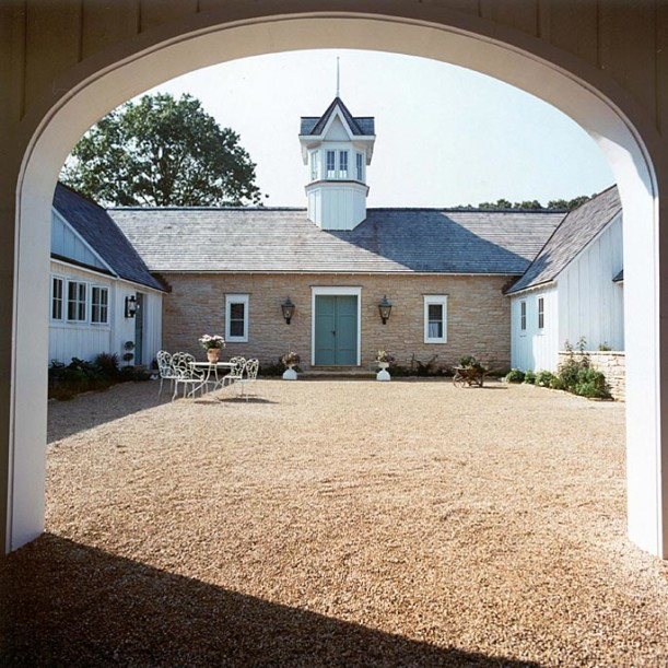 front exterior of French Country style farmhouse