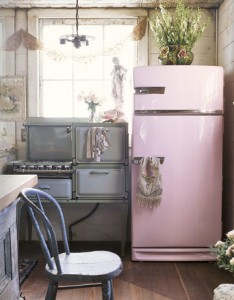 pink refrigerator Country Living