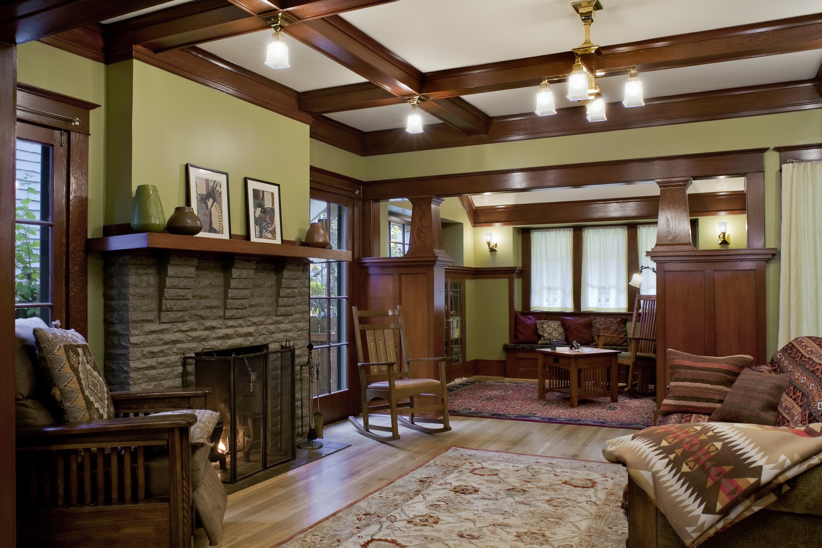 laurelhurst 1912 craftsman living room after hooked on houses
