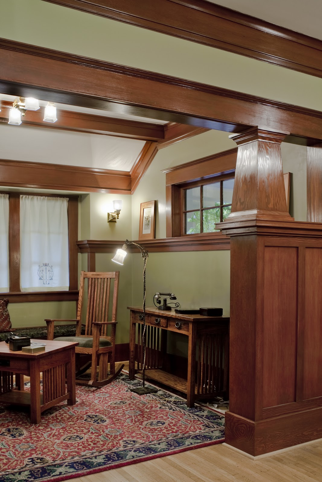 stained woodwork inside Craftsman home after remodel