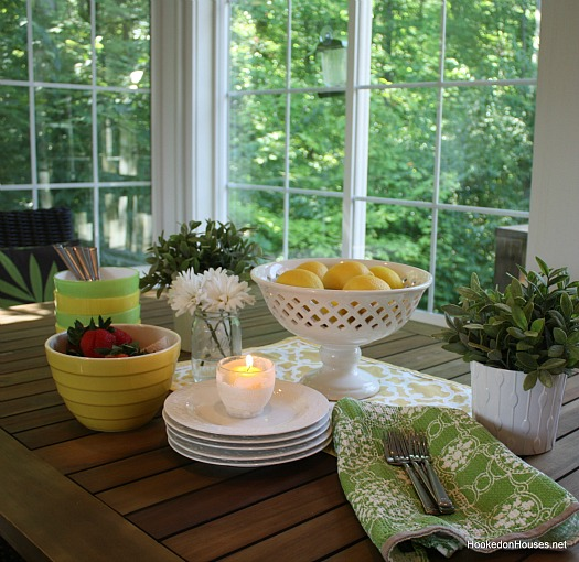 green and yellow table in sunroom 11