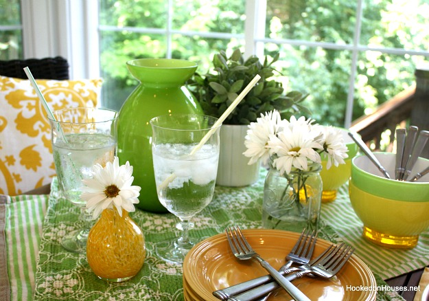 green and yellow table in sunroom 7