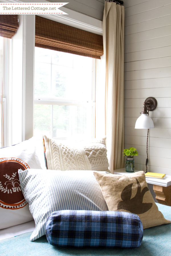 guest bedroom with shiplap on walls