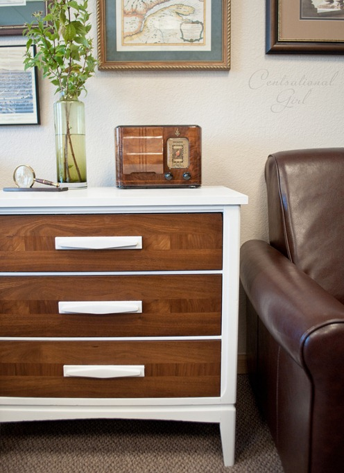 stained wood and white painted chest