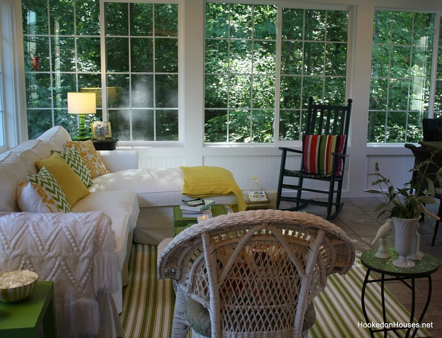 sunroom in the summer with rocking chair