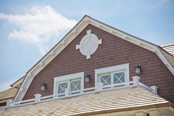 peak of roof on beach house