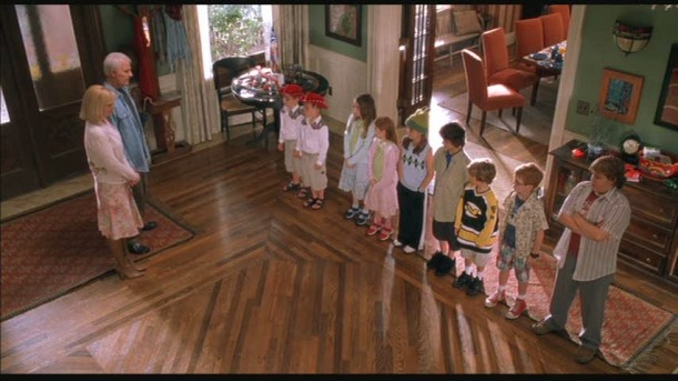 children lined up in entry hall