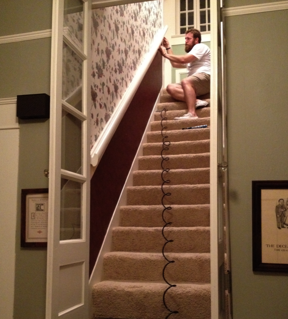 Ben Napier working on staircase in his home
