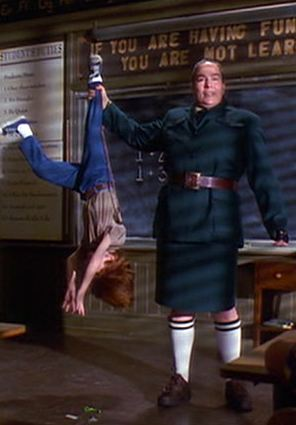 Miss Trunchbull holds student upside down by his leg