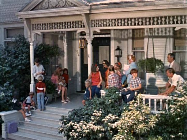 screenshot of family on porch from Yours Mine and Ours movie