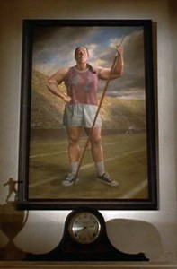 painting of Miss Trunchbull over the fireplace