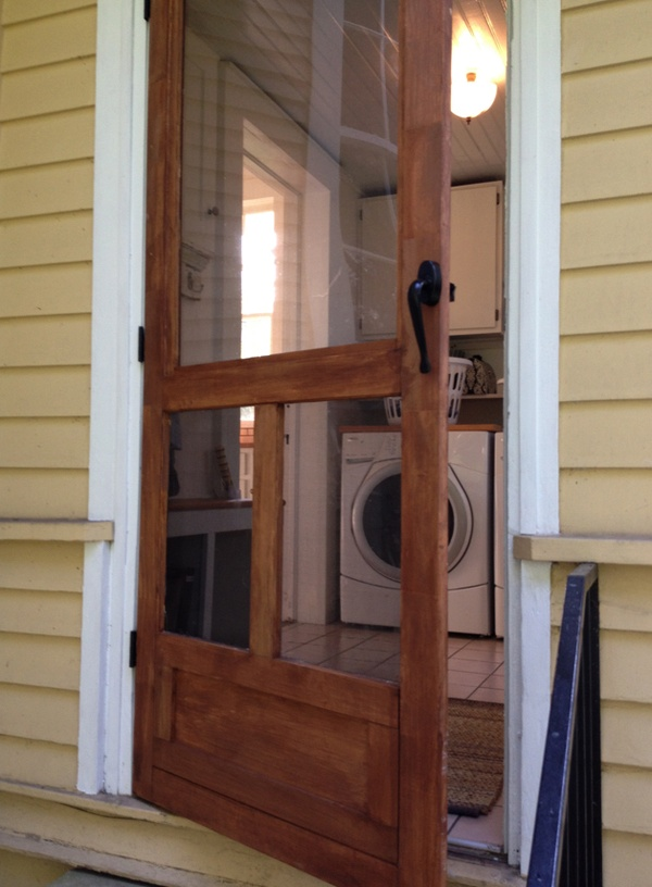 Screen door ben made for back of house hooked on houses for Entry door with screen