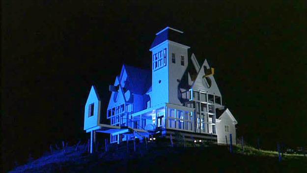 Beetlejuice house lit up at night