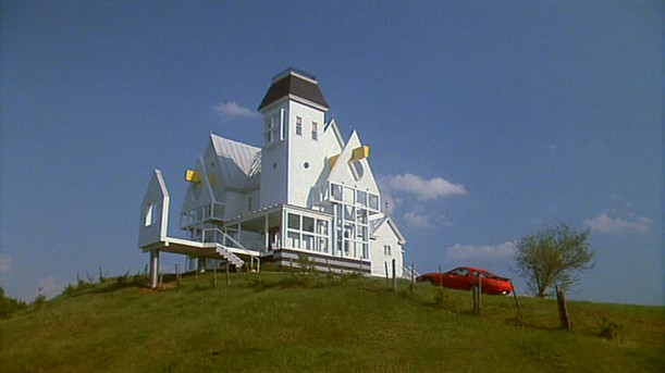 newly remodeled Beetlejuice house on a hill