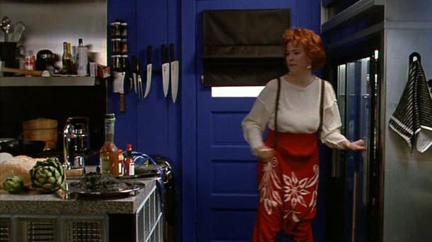 blue door in kitchen