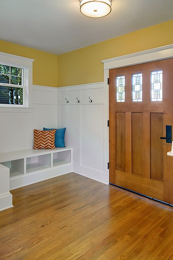 new front door and entry with bench
