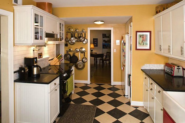 Amy S White Kitchen With Checkerboard Floors 2 Hooked On