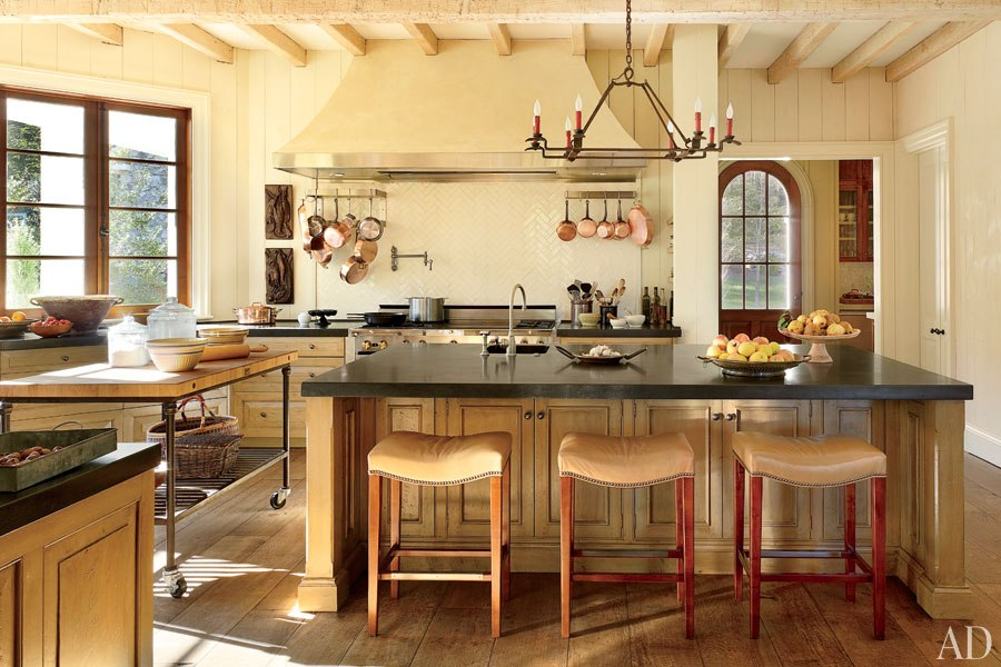A kitchen with large island on Blackberry Farm