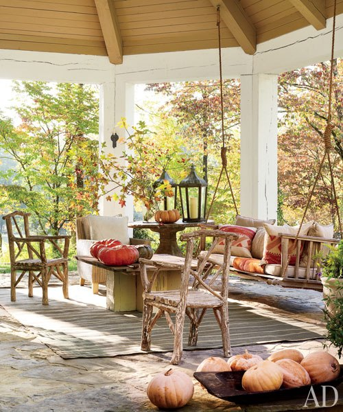swing and outdoor seating on porch