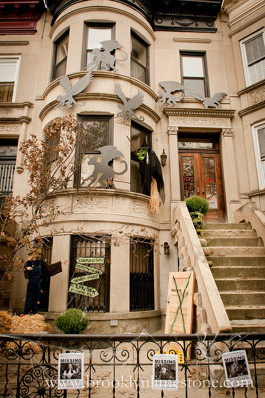 Brooklyn Limestone in New York decorated for Halloween
