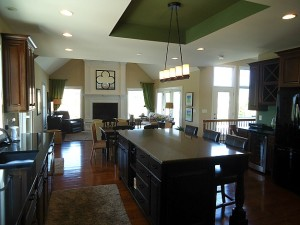 Carrie's dark wood kitchen with black island 3