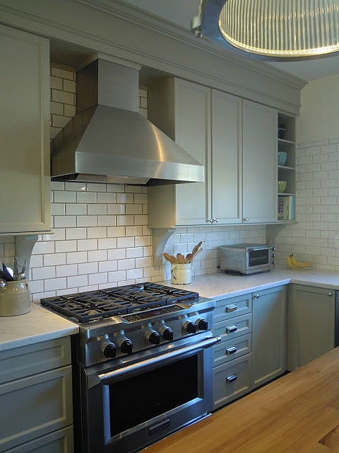 Gray kitchen with subway tile
