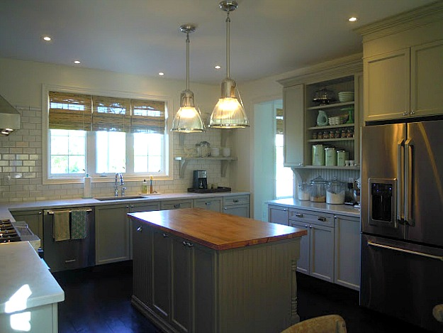 gray kitchen with island in center