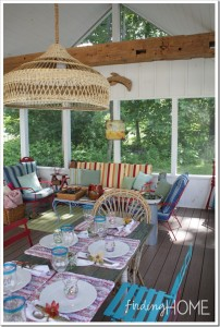 Finding Home-Laura's colorful vintage screened porch