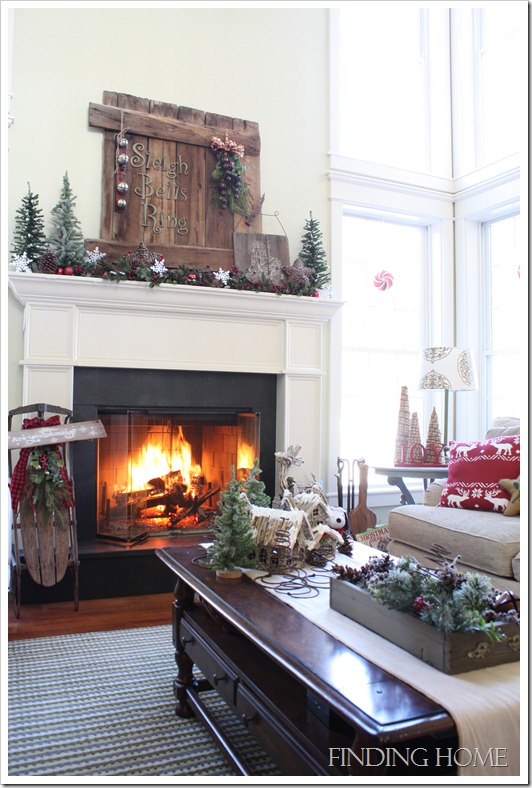 fireplace mantel decorated for Christmas