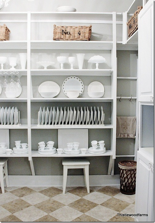 butlers pantry with dish rack