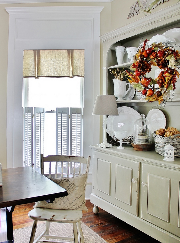kitchen buffet with fall wreath