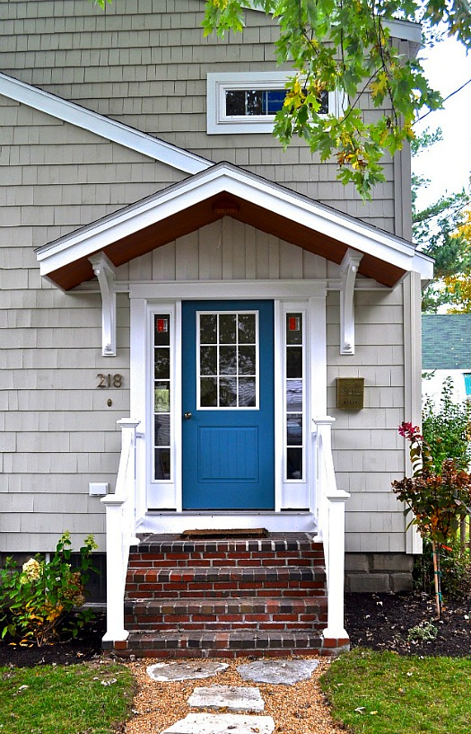 front door after makeover with blue paint