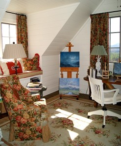 cozy corner of Lisa's studio with window seat