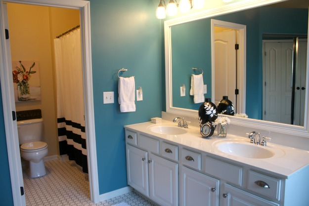 Master bath after makeover shower curtain hooked on houses for Master bathroom curtains