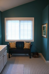 new Sausalito tile in master bath-black bench