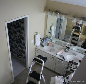 overhead view of master bath before tile