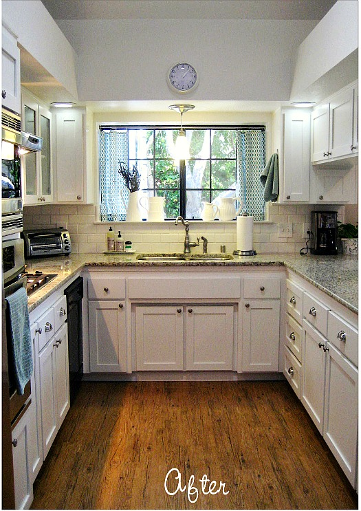 Before after carolyn 39 s yucky 1980s kitchen hooked for Small kitchen remodel before and after