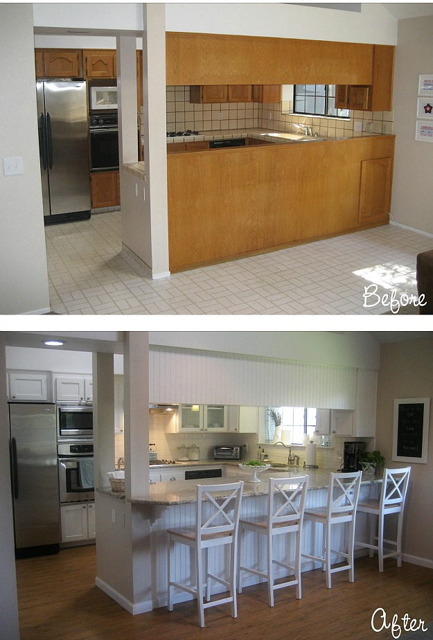 Before after carolyn 39 s yucky 1980s kitchen hooked for Kitchen renovation before and after