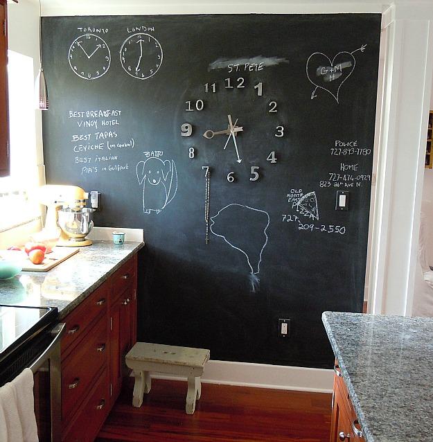 A blackboard near a window