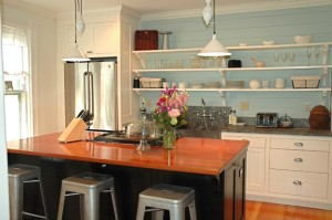 Chelsea's kitchen blue paneled wall