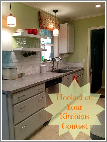 Kitchen photo with the words Hooked on Your Kitchens Contest