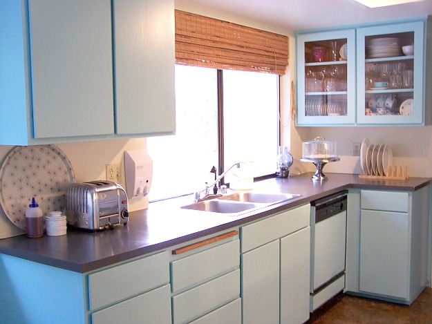 kitchen with pale blue cabinets