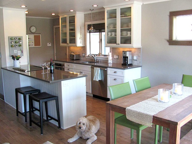 A kitchen with a dog sitting beside a table