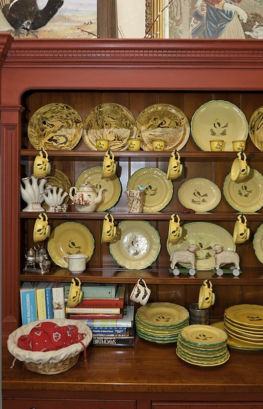 plates displayed in china cabinet